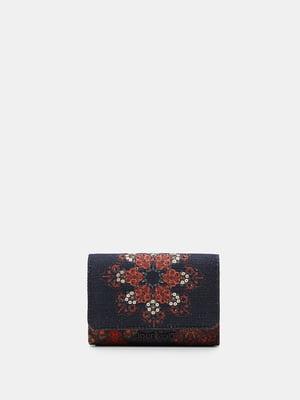 Кошелек черный с цветочным рисунком | 5710315