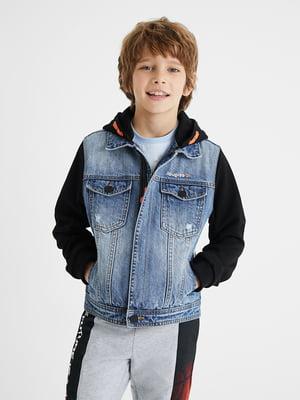 Куртка джинсова синя з принтом | 5710317