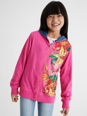 Кофта розового цвета с цветочным принтом | 5710328