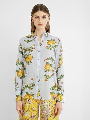 Рубашка голубого цвета с принтом | 5710351