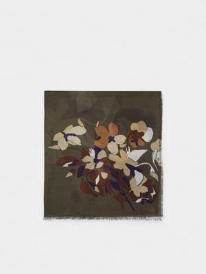 Шарф кольору хакі в квітковий принт | 5710611