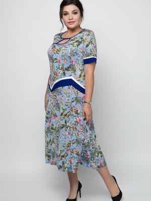 Сукня блакитна з квітковим принтом   5711116