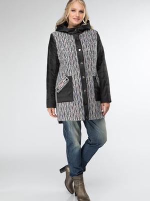 Пальто черно-серое с рисунком   5711118