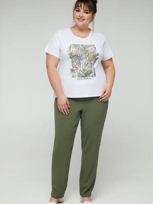 Блуза белая с принтом | 5711141
