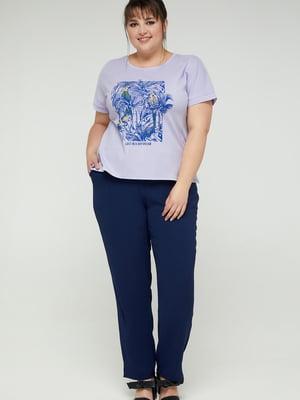 Блуза фиалковая с принтом | 5711142