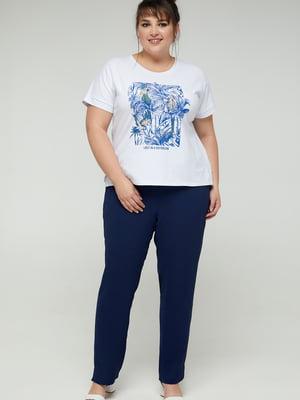 Блуза белая с принтом | 5711143