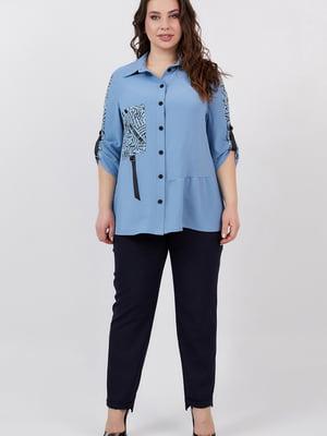 Сорочка синя з принтом | 5711208