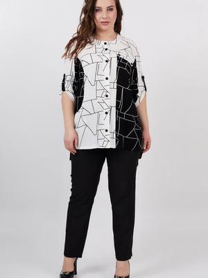 Сорочка біло-чорна з принтом | 5711216