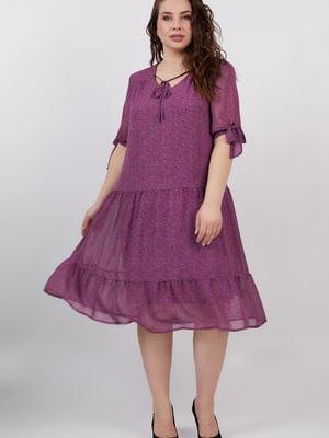 Платье фиолетовое с цветочным принтом | 5711224