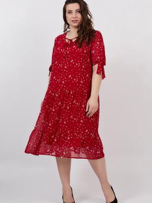 Сукня червона з квітковим принтом   5711227