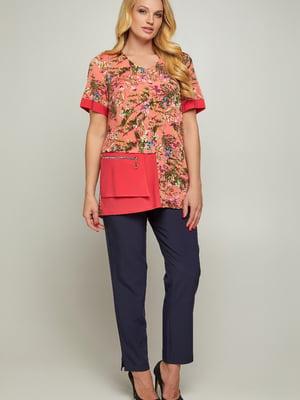 Блуза коралловая с принтом | 5711234