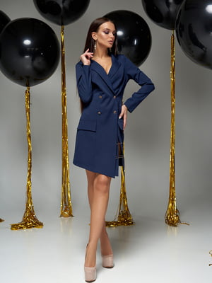 Сукня-жакет темно-синя | 5711646