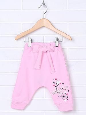 Ползунки розового цвета с принтом | 5281453