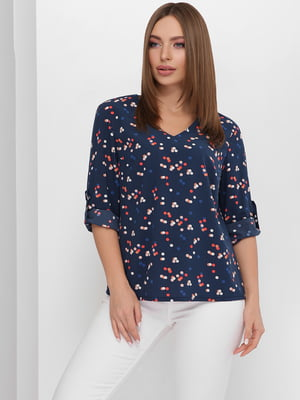 Блуза синяя в принт | 5711757