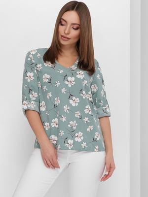 Блуза лазурного цвета с цветочным принтом | 5711760