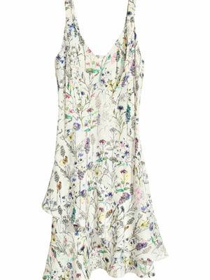 Платье белое с цветочным принтом | 5712115
