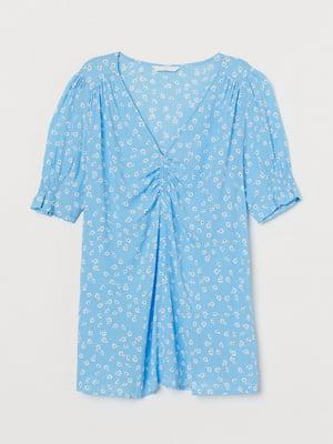 Блуза для беременных голубая с цветочным принтом | 5713131