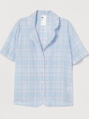 Рубашка пижамная голубая в клетку | 5713151