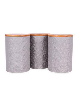 Набір з 3-х банок для сипких з бамбуковою кришкою (10х10х15 см)   5197646