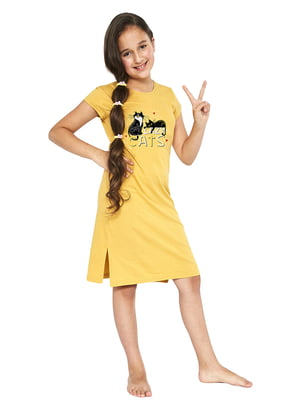 Сорочка нічна жовта в принт | 5713469