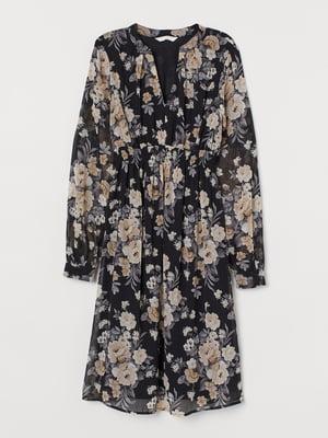 Платье для беременных черное в цветочный принт | 5711449