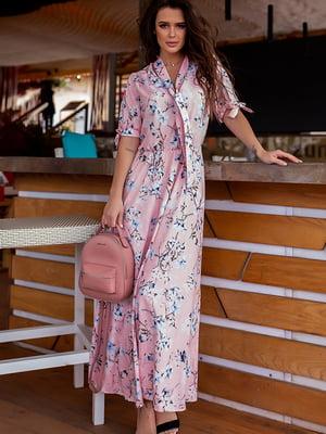 Сукня пудрового кольору у квітковий принт | 5715027