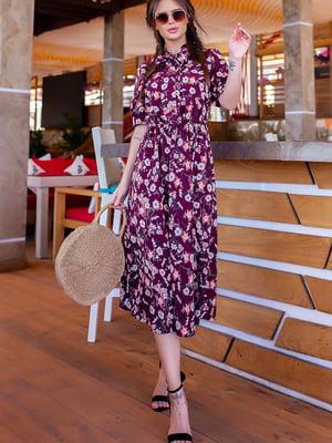 Платье бордовое в цветочный принт | 5715030