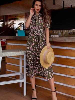 Платье цвета хаки в цветочный принт | 5715032