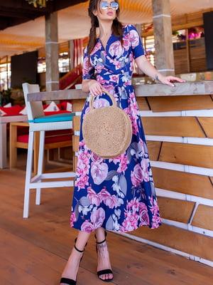 Сукня синя у квітковий принт | 5715039
