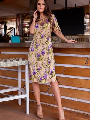Платье бежевое в цветочный принт | 5715040