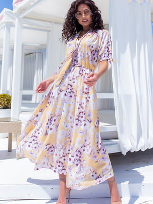 Платье желтое в цветочный принт | 5715154
