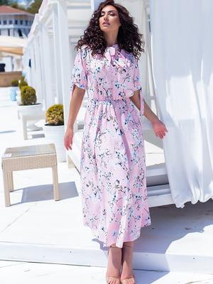 Платье пудрового цвета в цветочный принт | 5715155