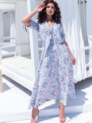 Платье серое в цветочный принт | 5715156