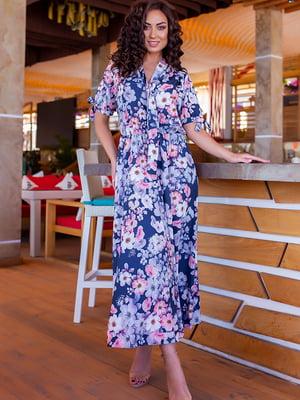 Платье синее в цветочный принт | 5715157