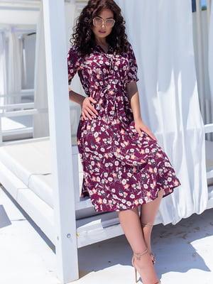 Платье бордовое в цветочный принт | 5715158