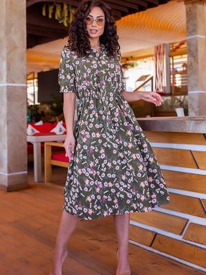 Платье цвета хаки в цветочный принт | 5715160