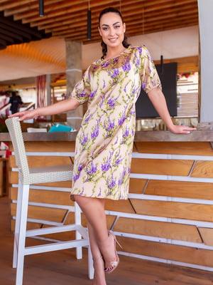 Платье бежевое в цветочный принт | 5715168