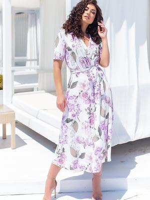 Платье белое в цветочный принт | 5715164