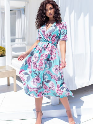 Сукня бірюзового кольору у квітковий принт | 5715165
