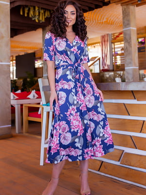 Платье синее в цветочный принт | 5715167