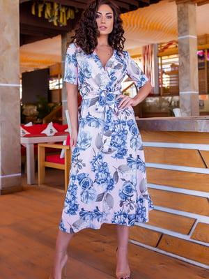 Платье пудрового цвета в цветочный принт | 5715166
