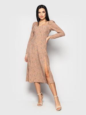 Сукня бежевого кольору в квітковий принт | 5715330