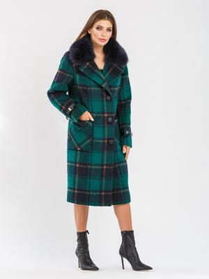 Пальто зелене в клітинку | 5715387