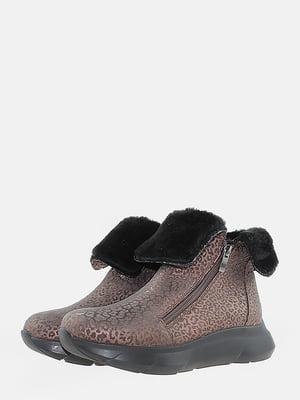 Ботинки кофейного цвета с анималистическим узором | 5715613