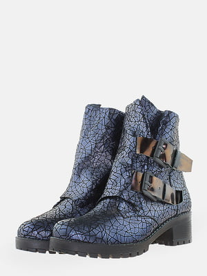 Ботинки синие с рисунком | 5715620