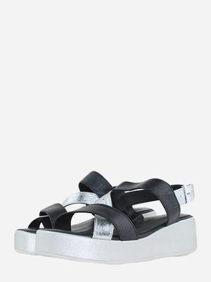 Босоножки черно-серебристого цвета   5715761