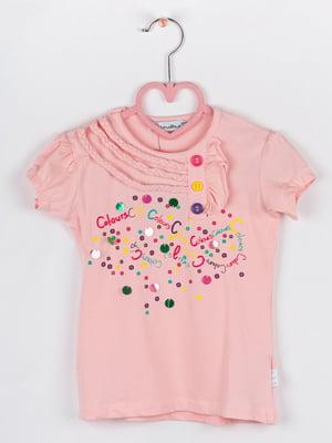 Футболка рожева з декором | 5713813