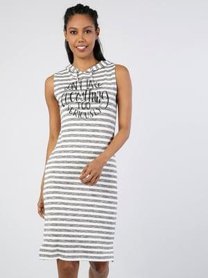 Платье белое в полоску и с принтом | 5708965