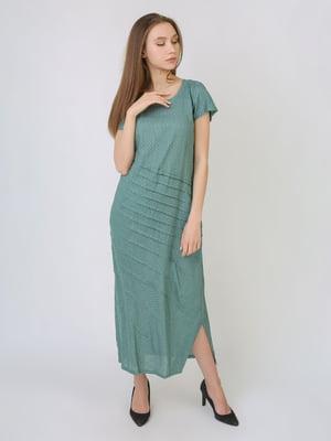 Платье серо-зеленое в горошек | 5707910