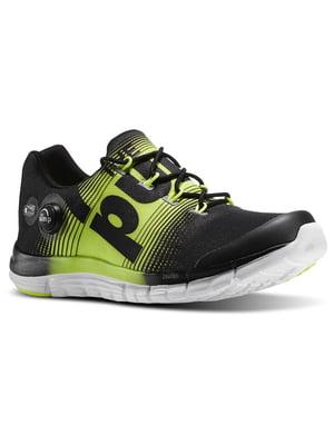 Кроссовки черно-салатового цвета с логотипом | 5716883